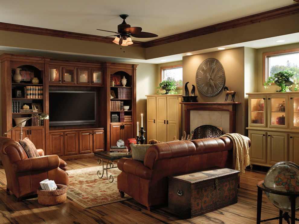 Inspiration for a timeless living room remodel in Minneapolis with beige walls and a media wall