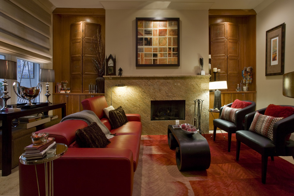 Living room - traditional enclosed living room idea in Other with beige walls