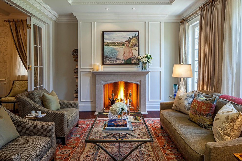 Inspiration for a timeless dark wood floor living room remodel in Toronto with a standard fireplace