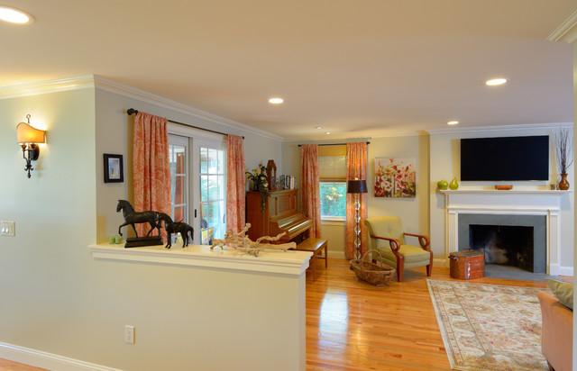 Traditional living room remodel, oak flooring, recessed ...