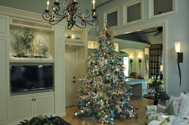 white flocked christmas tree decorating ideas traditional living room - Interior Christmas Decorating Ideas