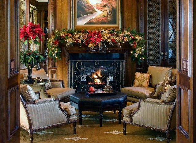 traditional red green and gold christmas decorations traditional living room - Christmas Decorations San Diego