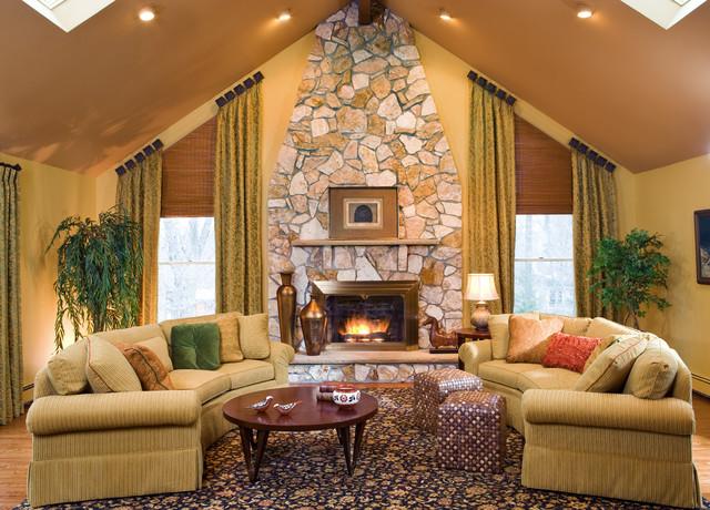 Traditional Living Room Slanted Windows