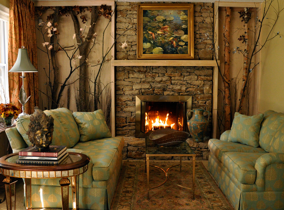 Living room - traditional living room idea in Kansas City with a stone fireplace