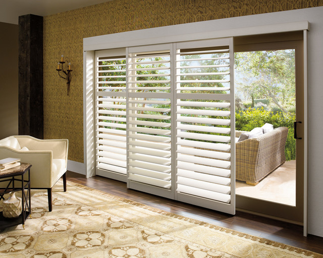 sliding glass door plantation shutters traditional living room st louis by two blind guys. Black Bedroom Furniture Sets. Home Design Ideas