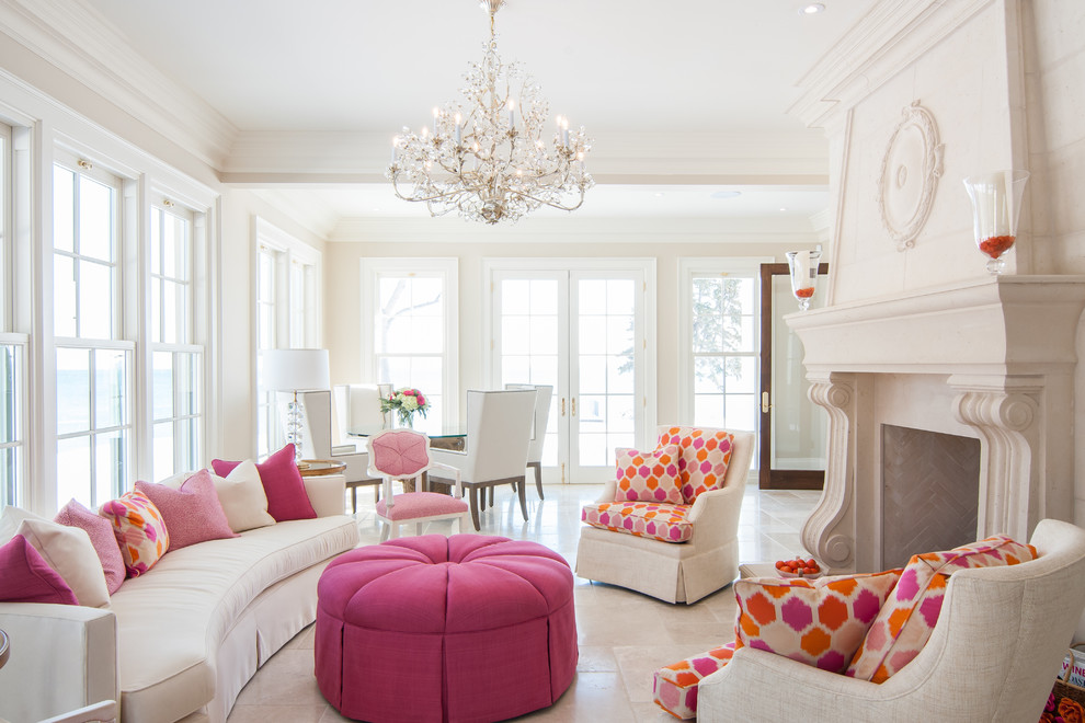 Inspiration for a timeless formal and open concept living room remodel in Toronto with beige walls and a standard fireplace