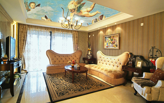 Traditional opulence with renaissance art stretch ceiling for Royal living room designs
