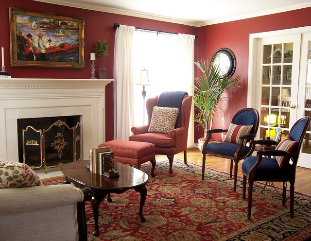 Traditional Red And Navy Living Room Traditional