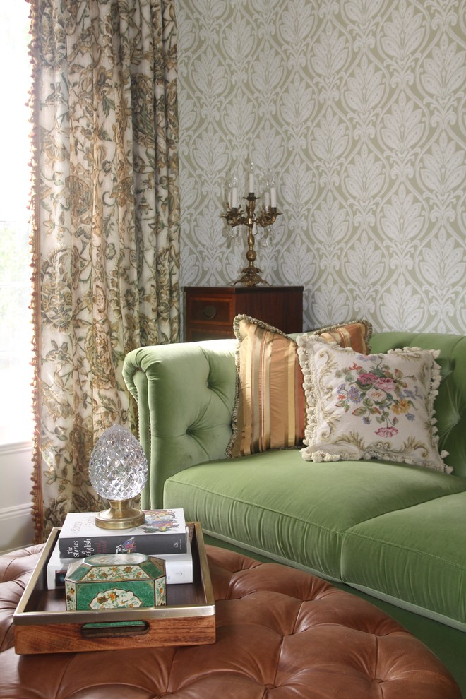 Small elegant enclosed carpeted living room library photo in New York with green walls, no fireplace and no tv
