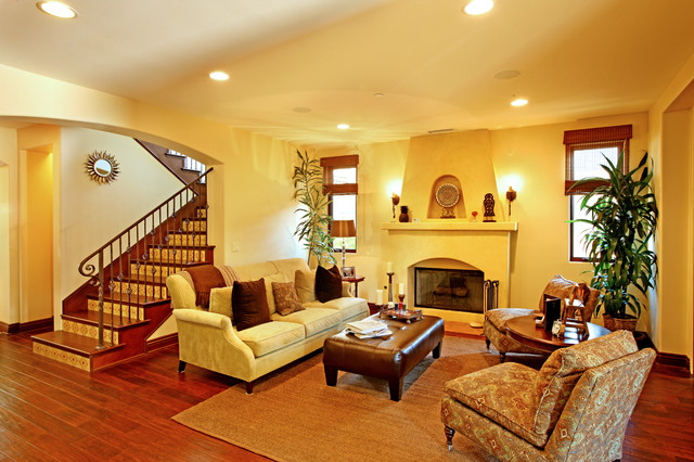 Traditional spanish custom home in pacific palisades ca mediterranean living room los for Spanish colonial revival living room