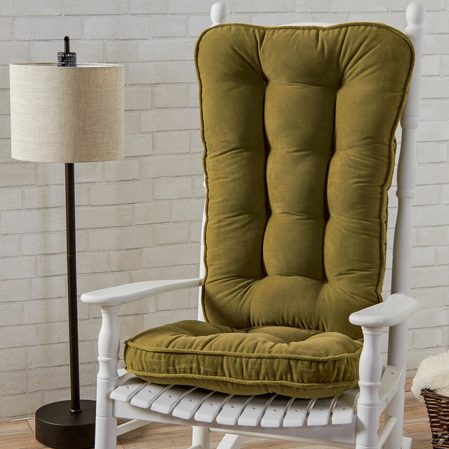 Traditional Style Rocking Chair With Green Seat Cushions Contemporary Liv
