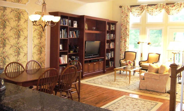 Living Dining Room Cabinets: Traditional Townhome With Custom TV Wall Cabinet