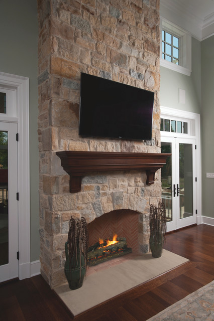 Traditional Walnut Fireplace Mantel Shelf - Traditional - Living ...