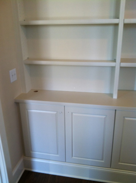Traditional White Shaker Style Shelving System Living