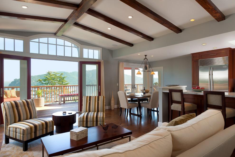 Living room - craftsman open concept living room idea in San Francisco
