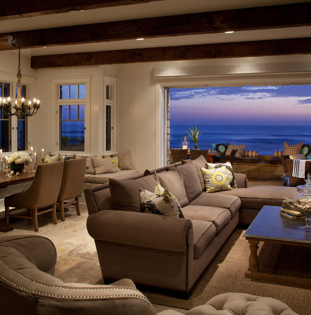transitional beach house beach style living room