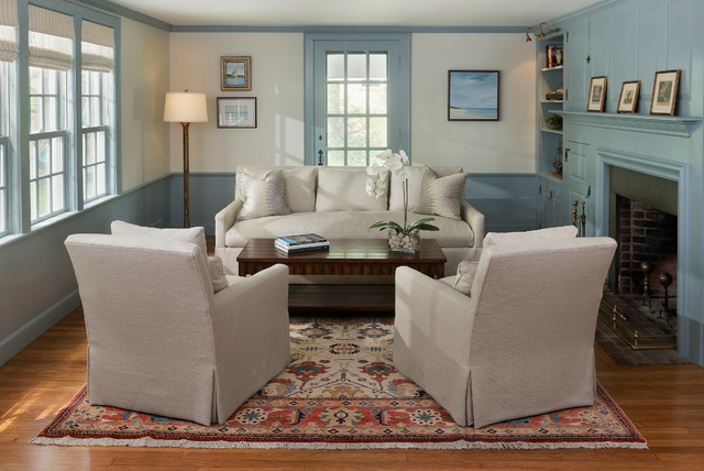 Small Transitional Formal And Enclosed Medium Tone Wood Floor Living Room  Idea In Boston With Blue