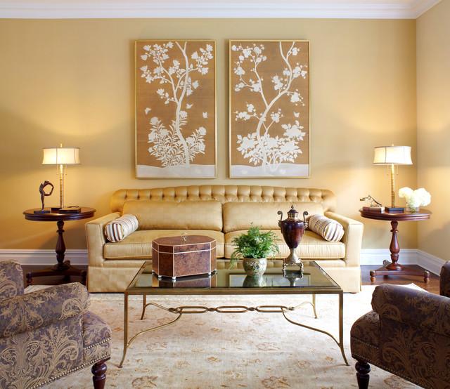Traditional Transitional Coastal Interior Design Ideas: Transitional Golden Warm Living Room