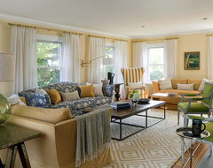 Shingle Style House, Historic Seaside Town, Rhode Island transitional living room
