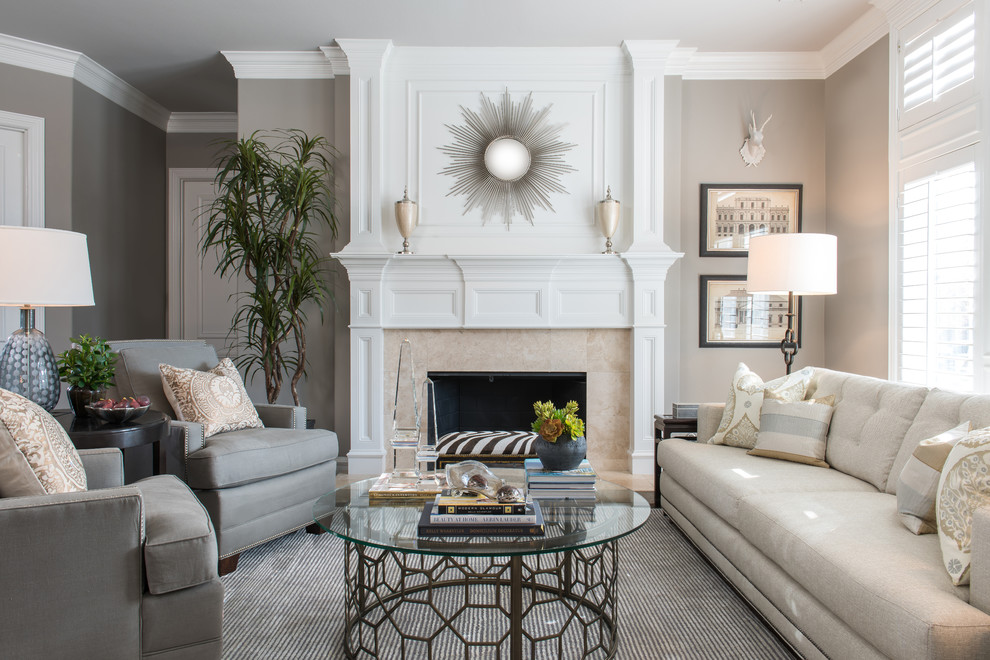 Mid-sized elegant formal and open concept living room photo in Dallas with gray walls, a standard fireplace, a stone fireplace and no tv