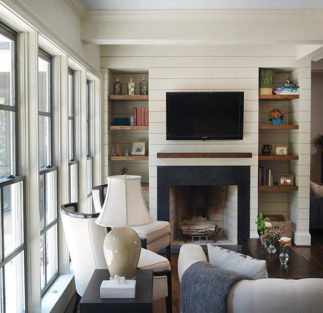 Transitional Living Room Design Ideas: Ranch Remodel Family Room Fireplace