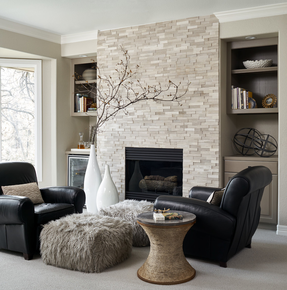 Example of a transitional carpeted living room design in Denver with beige walls and a standard fireplace