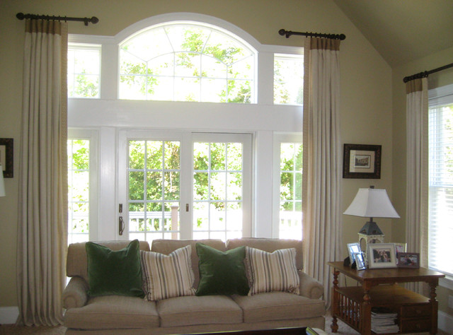 box peated drapery panels - transitional - living room
