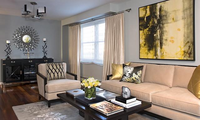 Living Room   Contemporary Living Room Idea In New York