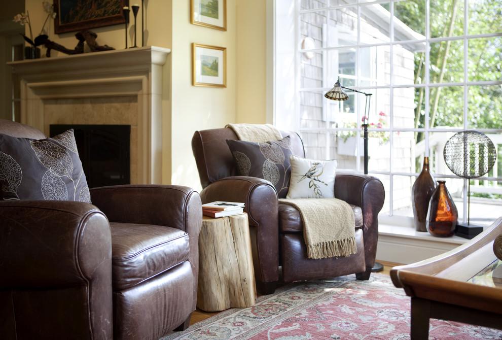 Elegant living room photo in San Francisco with beige walls