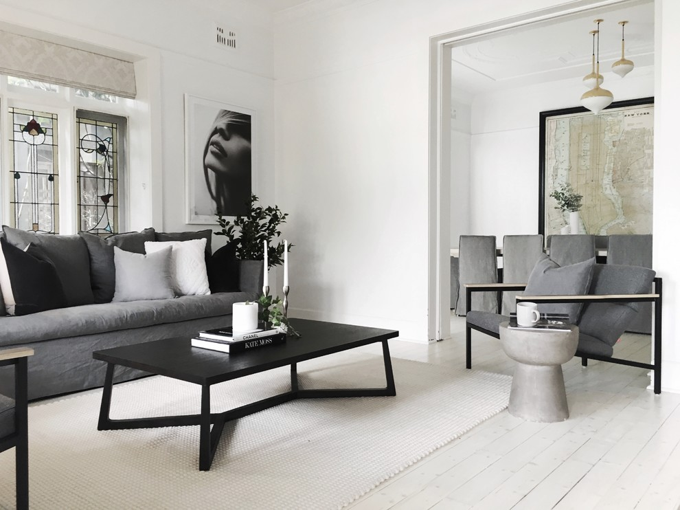 Inspiration for a small transitional beige floor living room remodel in Sydney with white walls