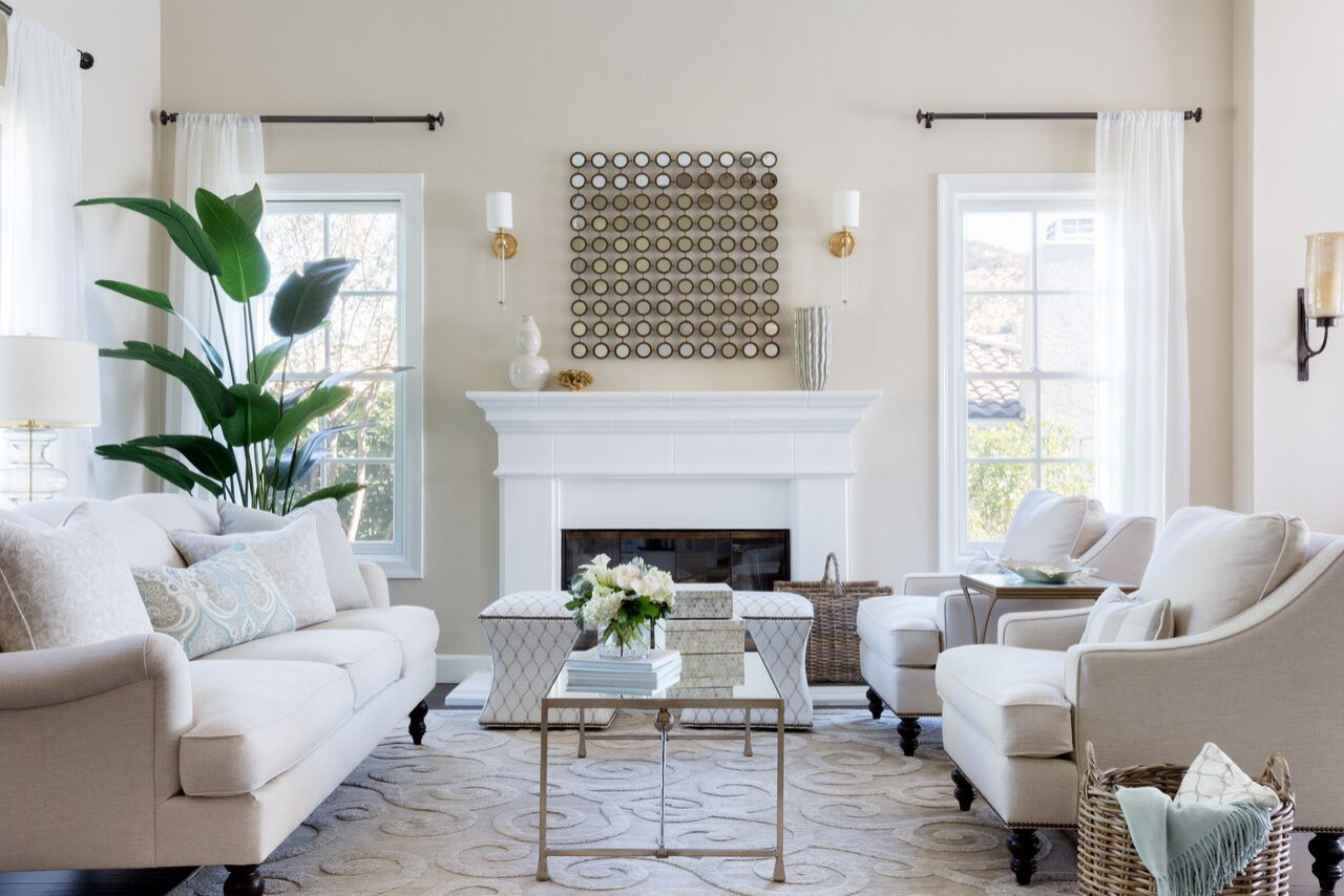 Transitional Living Room Neutral and Calming
