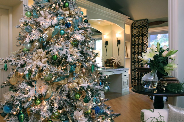 White flocked christmas tree with shades of blue transitional living room san diego by for Christmas tree in living room photos