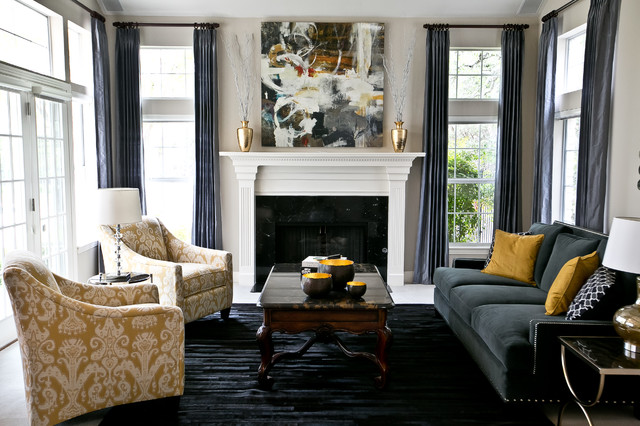 Charming Example Of A Transitional Formal And Enclosed Living Room Design In Austin