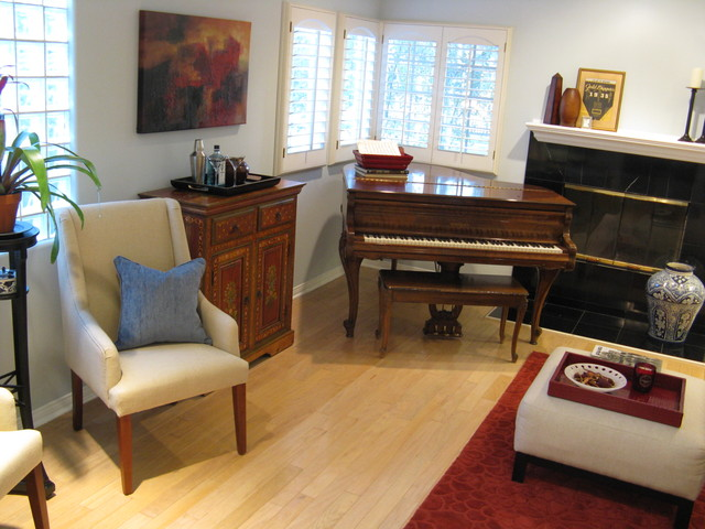 Transitional Living Room With Piano Traditional Living