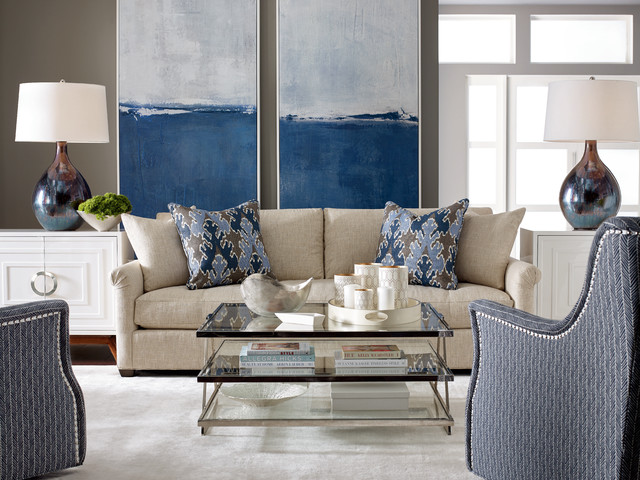 Inspiration for a transitional living room remodel in Chicago with gray walls