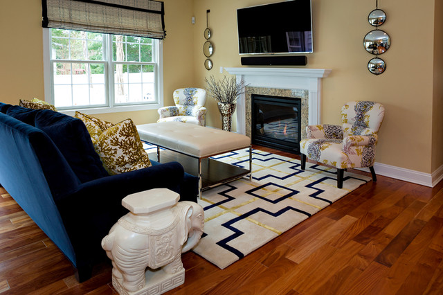 navy blue and gold living room transitional spaces transitional living room 24849