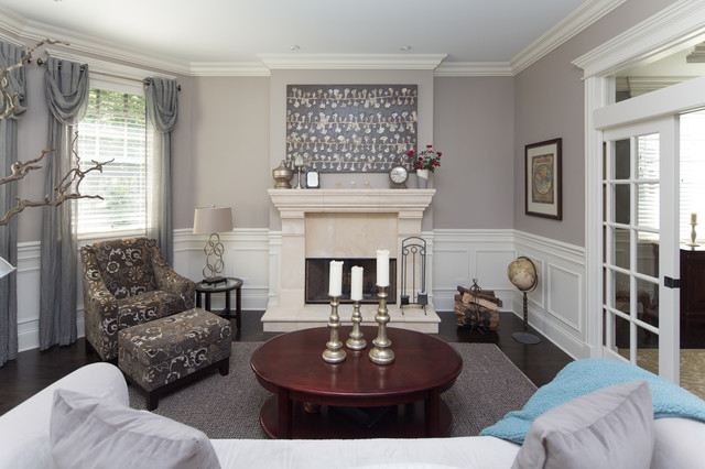 Transitional style living room with white wainscoting for Living room wainscoting ideas