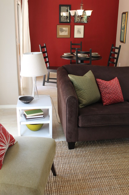 Transitional Style With Sage Green Accents And Red Walls Contemporary Living Room