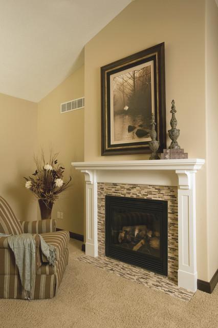 Transitional white fireplace mantel