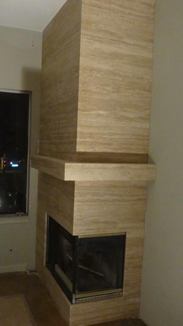 Travertine Stone Fireplace Designs : Travertine fireplace in dana point beach style living
