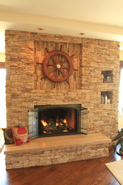 Travertine Fireplace Traditional Living Room Los