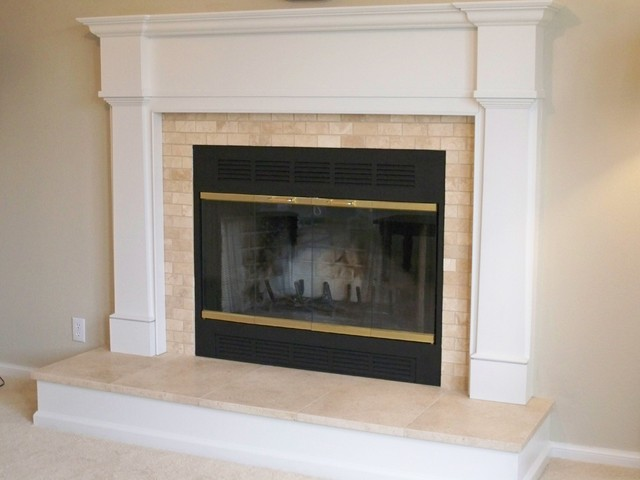 Travertine Traditional Fireplace Traditional Living