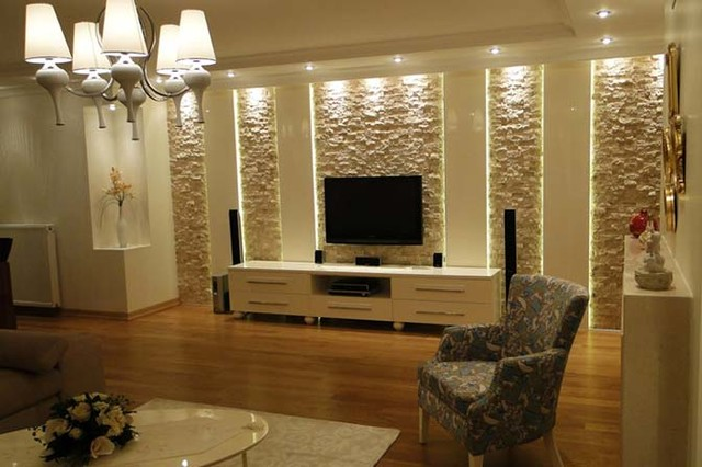 Travertine wall coveerings - Contemporary - Living Room - other metro - by TroyStones