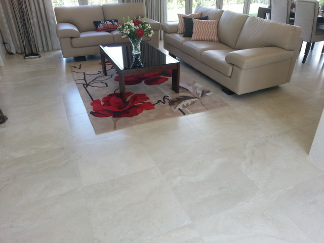 Travertino bone porcelain tiles 45 capriana dr karaka for Tiles in a living room