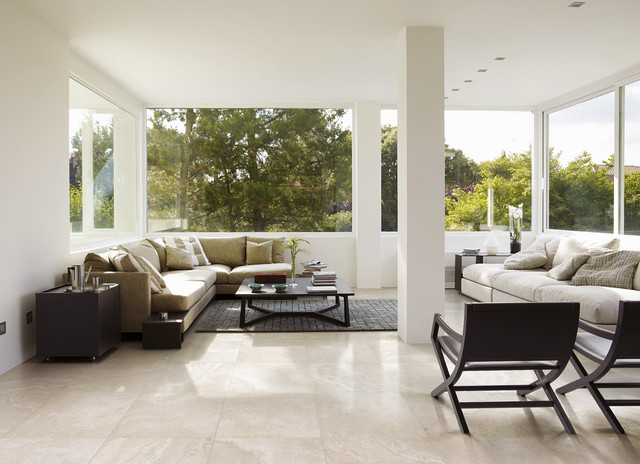 Travertino Porcelain Tile Collection Contemporary Living Room