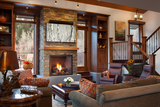 Tree haus renovation rustic living room denver by for Living room elevation