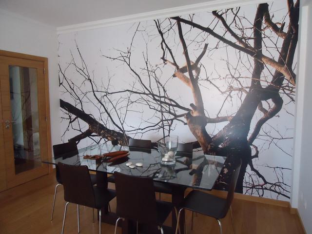 Tree vinyl wallpaper contemporary living room other for Tree wallpaper living room