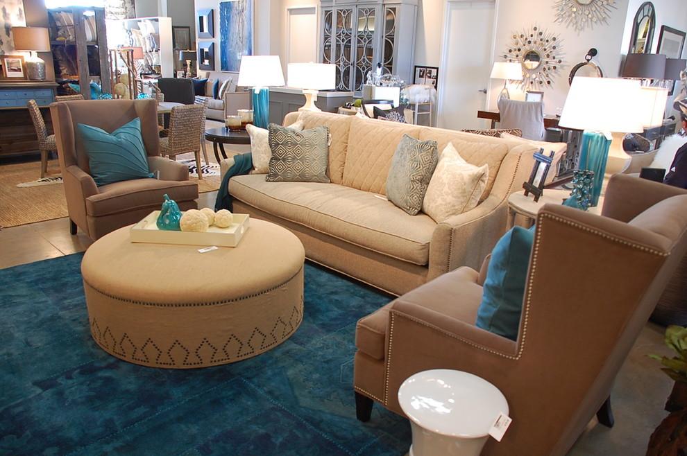 Trending Blue Tan Living Room Contemporary Living Room Austin By Decorum Home Design