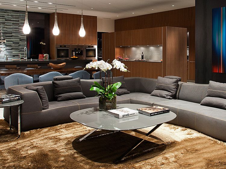Living room - large modern formal and open concept vinyl floor living room idea in New York with black walls, no fireplace and no tv