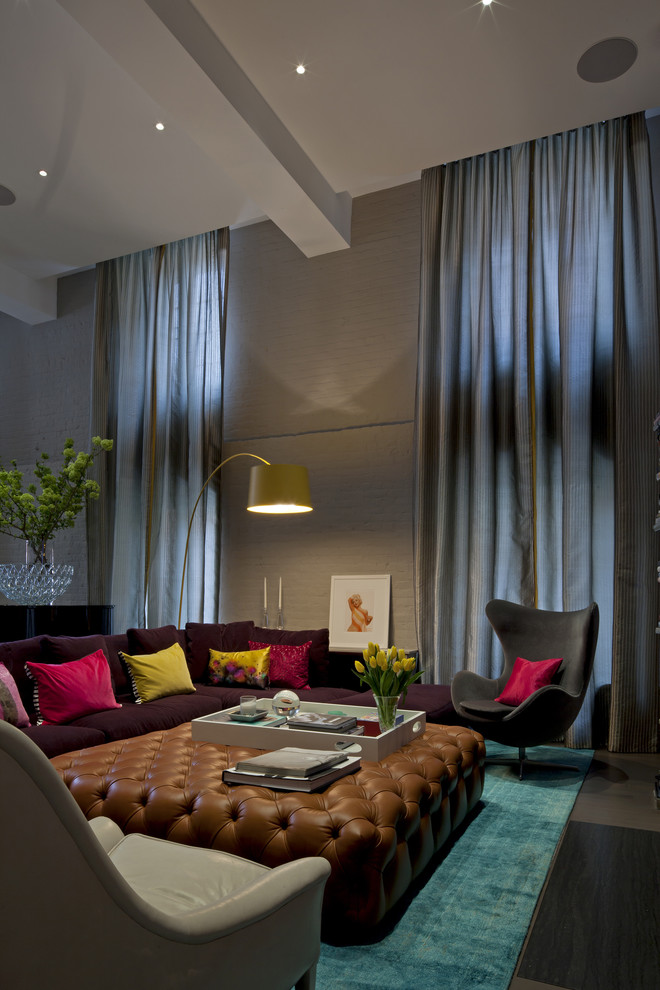 Trendy living room photo in New York with gray walls
